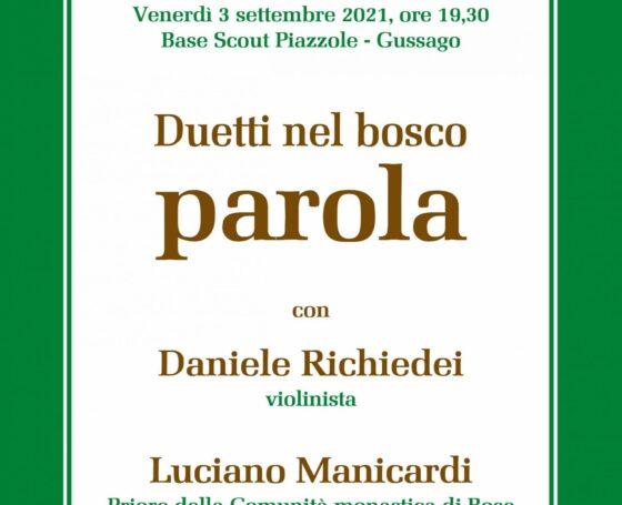 Duetti nel Bosco a Piazzole – venerdì 3 settembre 2021